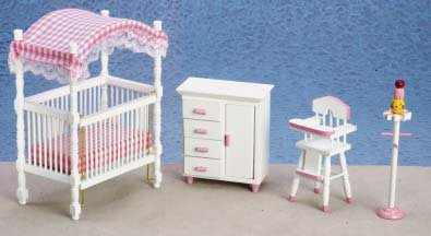 Marvelous Critique And Also Assess Price Dollhouse Miniature White And Pink Nursery  Furniture Set At Amazon.com