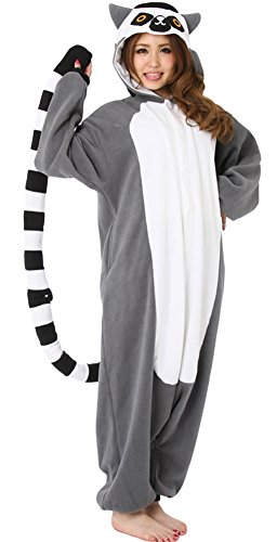 DELEY Unisex Adulto Kigurumi Animale Pigiama Caldo Onesies Pigiama Cosplay Homewear Anime Costume Lemure Taglia XL