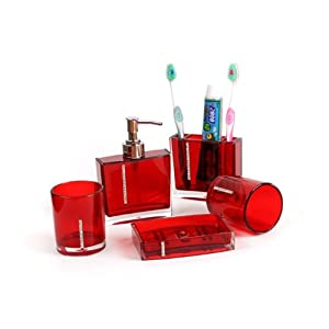 5pcs acrylic bathroom set wtih diamoud stud for Red bathroom accessories