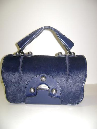 Fendi Handbags Secrete Code Dark Blue CALF HAIR Leather 8BN199 SPECIAL CLEARANCE