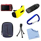 BIRUGEAR Dark Blue Carrying Case + Carbineer + Floating Strap + Mini Tripod + Card Reader + Cloth for Canon PowerShot D20, D10 ; FujiFilm FinePix XP200, XP60, XP170, XP50, XP100, XP150, XP30, XP20, XP10 ; Kodak C123, COOLPIX S31 ; Nikon COOLPIX AW110, S3
