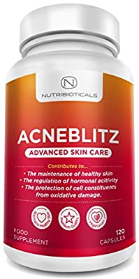 #1 Acneblitz for Fighting Spots, Blemishes and Oily Skin with Pantothenic Acid, Collagen, Zinc, Co-enzyme Q10 and Vitamins A, C, E