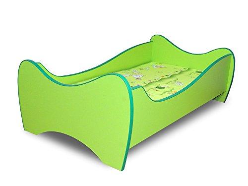 Lit enfant vert+sommier+matelas 140x70 cm