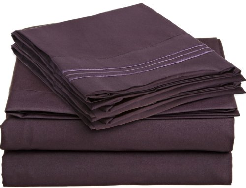 Clara Clark Premier 1800 Collection 4Pc Bed Sheet Set - Cal King Size, Purple Eggplant, front-793705