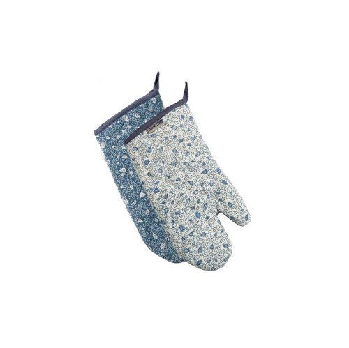 Yair Emanuel Double Sided Pomegranate Oven Mitt By In Blue And White