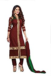 Divisha Fashions Brown Cotton Unstitched Churiddar Suit with Dupatta
