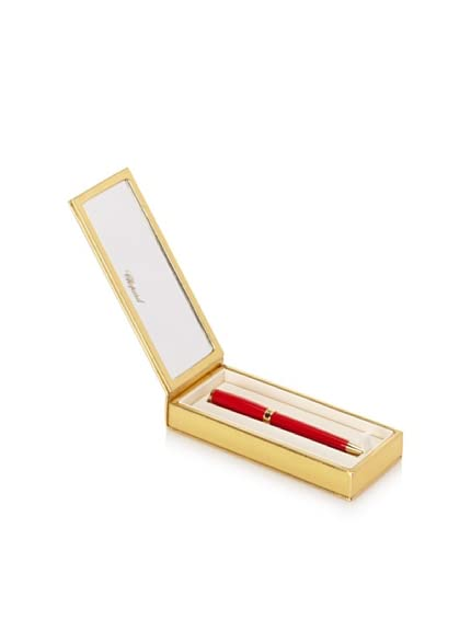 Chopard Vivace Clipless Ballpoint Pen, Red/Gold Trim, 14 cm x 13 mm