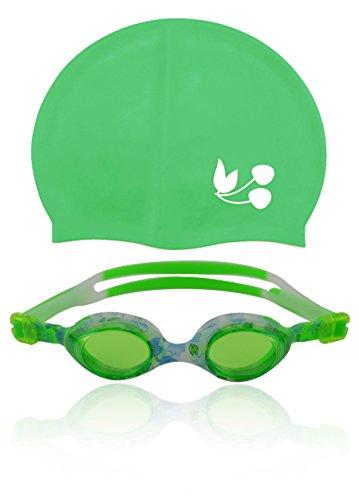 VORTEILS-Kinder-Set: Kinder-Schwimmbrille + Badekappe / 100% UV-Schutz + Antibeschlag / Qualitäts-Silikon / reissfest / höchster Tragekomfort