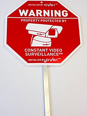CCTV Security Camera Sign with Stake & 6 Decals Great Securtiy Sign Set from PropertyguardTM