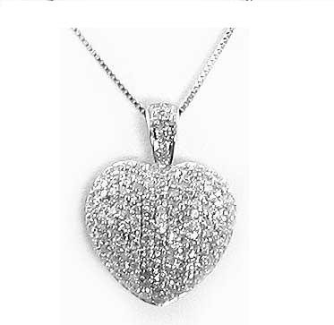 Nicki's Sterling Silver Pave CZ Puffed Heart Necklace 24