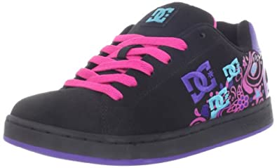 DC Women's Pixie Doodle Sneaker,Black/Crazy Pink/Blue,7 M US