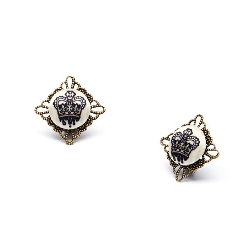 Crown Button Clip On Earrings