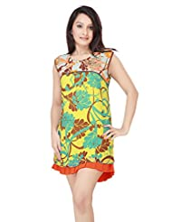ADS Womens Digital Print Yellow Kurti/Tunic - B00NPQ7YHI