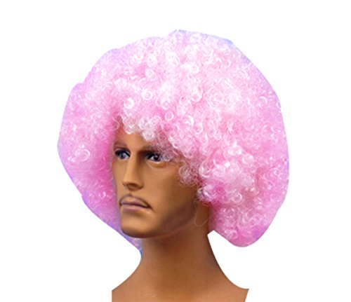 Halloween Party Color Fans Cheerleaders Performing Short Curly Wig Fluffy-Light Pink