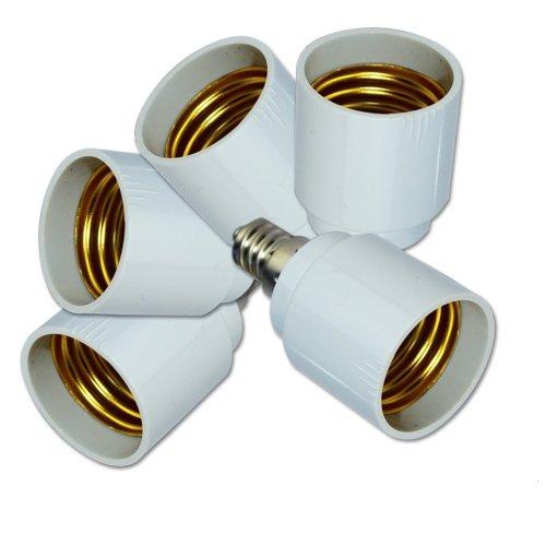 Zitrades(Tm) 5Pcs/Pack E12 To E26 / E27 Adapter - Converts Chandelier Socket (E12) To Medium Socket (E26/E27)