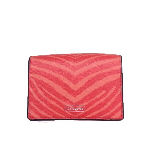 Coach   Coach Zebra Print Saffiano Leather Business Card / ID Case, Hot Orange