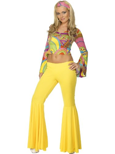 Hippy costume for women with yellow flared trousers and top
