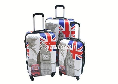 JustGlam - Set 3 Trolley s1026 stampa london , valige rigide in ABS policarbonato, bagaglio piccolo da cabina, chiusura con lucchetto / Unico