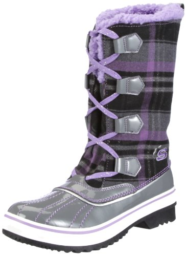 Skechers Girls' Highlanders Safari Glitz Boots,Charcoal/Purple,13 M US