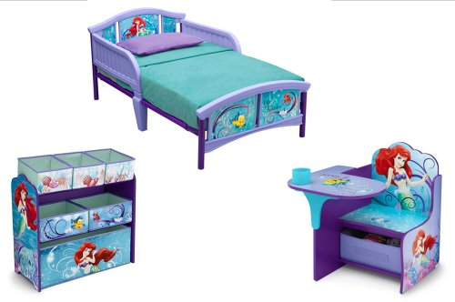 Superb Little Mermaid Bedroom Set Toddler Bed Toy Organizer Desk chair Combo Storage