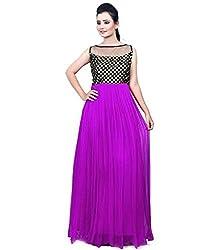 Clickedia Women & Girls Beautiful Purple & Black Semi Stitched Net Gown