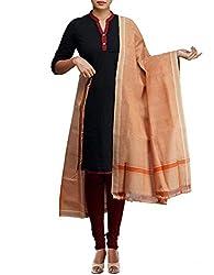 Unnati Silks Women Light yellow Pure Handloom Andhra Khadi Cotton dupatta