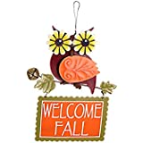 YK Decor Metal Funky Owls Autumn Wall Hanging Sign (Brown Body)