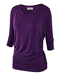 MBJ Womens 3/4 Sleeve Drape Top with…
