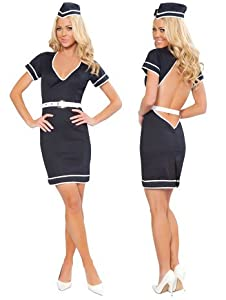 Classy Sexy Flight Attendant Mile High Costume - LARGE