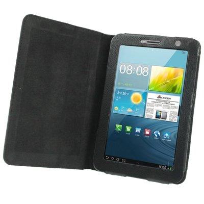 gada - Handyhülle für Samsung Galaxy Tab 2 II 7.0 (P3110 / P3100 / P3113) Leder-Imitat Tasche Case Etui Schutzhülle Schwarz - weich gefüttert