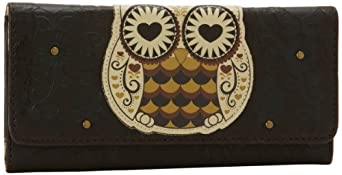 Loungefly LFWA0302 Owl with Heart Eyes Wallet,Brown/White/Black,One Size