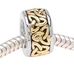 Beadaholique Trinity Celtic Knot on Silver Tone Bead, Fits Pandora, 22K Gold Plated