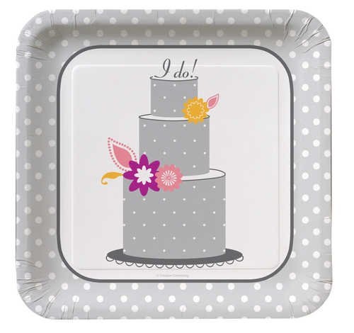 Creative Converting I Do Cake, Square Large Banquet Plates, 8 Count