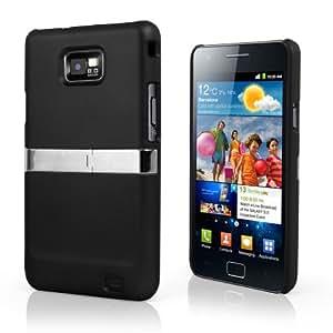 AIO Schwarz hart Stand Case Tasche für Samsung Galaxy S2 i9100 Silver Chrome & Film