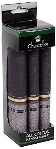 Chancellor Men's Handkerchief, Pack of 3 Pc (Dark Colour)