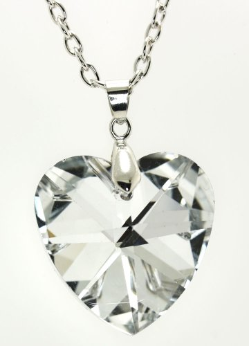 Multifaceted Triangle -Cut Clear Austrian Crystal Heart Pendent Necklace