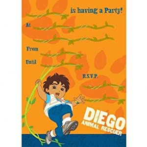 Go Diego Go Party Invitations 20 pack with envelopes