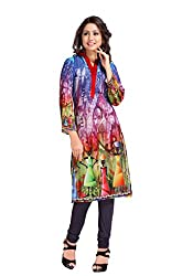 The Ethnic Chic Women's Blue, Magenta & Green Color Georgette Kurti.