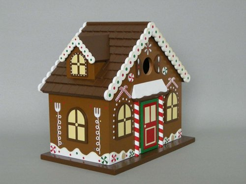Fully Functional Holiday Gingerbread Candy Cane Outdoor Garden Birdhouse