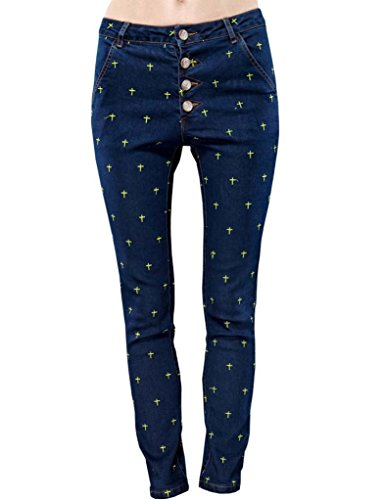 Elf Sack Womens Summer Jeans Pattern Of Stars Embroidery School Style Medium Size