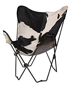 Linon 98251HOHBW-01-AS Butterfly Chair with Hair on Hide Cover, Black and White