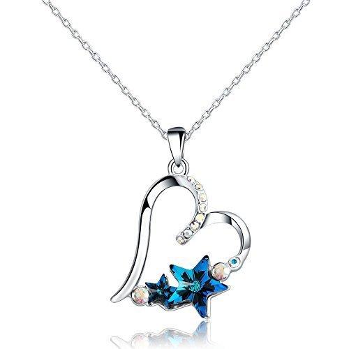 swarovski-elements-placcato-platino-collane-con-pendente-a-forma-di-amore-cuore-blu