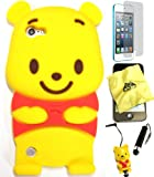 Bukit Cell ® 3D Disney Case Bundle - 5 items: YELLOW 3D Winnie The Pooh Bear Soft Silicone Case Cover for iPod Touch 5 5G 5th Generation + BUKIT CELL Trademark Lint Cleaning Cloth + Pooh Figure Anti Dust Plug Stylus Touch Pen + Screen Protector + METALLIC Stylus Touch Pen with Anti Dust Plug