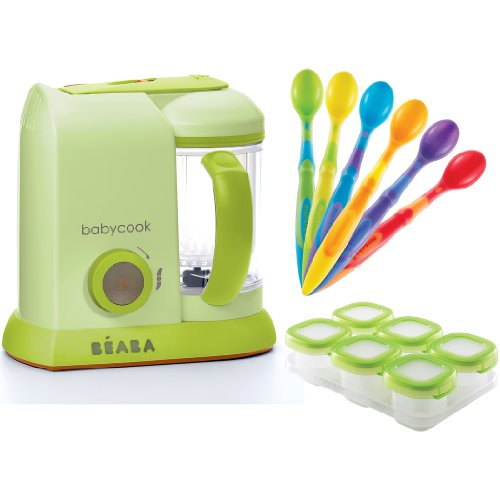 BEABA Babycook Pro, Sorbet with FREE OXO Baby Blocks and Munchkin Soft Tip Infant Spoons
