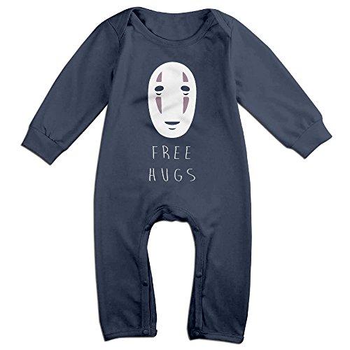 Cute Studio Ghibli Spirited Away No-Face Bodysuit For Newborn Baby Navy Size 12 Months
