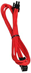 BitFenix Alchemy Multisleeve 4-Pin 45cm ATX Extension Cable - Red Sleeve/Black Connector (BFA-MSC-4ATX45RK-RP)