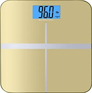 """BalanceFrom High Accuracy MemoryTrack Premium Digital Bathroom Scale with """"Smart Step-On"""" and MemoryTrack Technology, Extra Large Dual Color Backlight Display [NEWEST VERSION] (Gold)"""