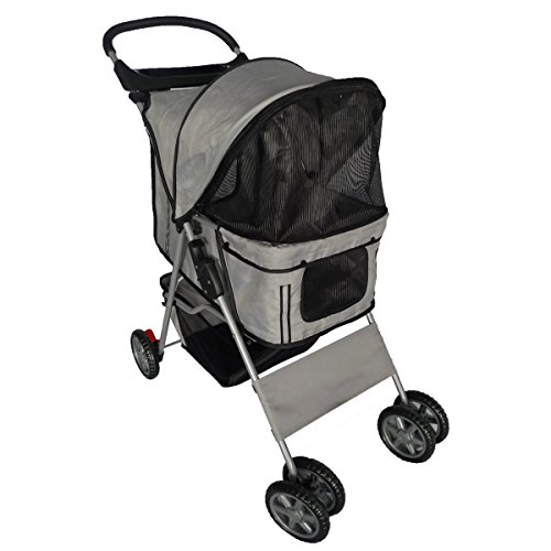 Pingkay Gray Color Deluxe Folding 4 Wheels Pet Gear Dog Cat Carrier Stroller