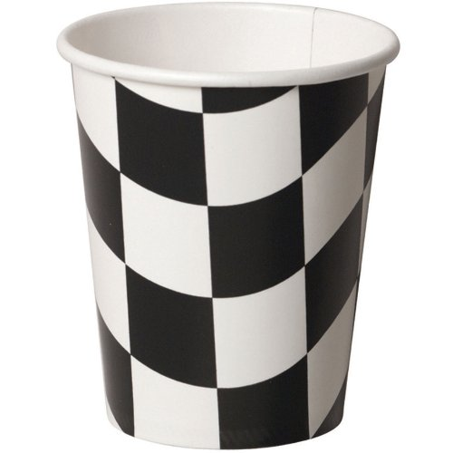 Creative Converting 8 Count Hot or Cold Beverage Cups, Black and White Check - 1