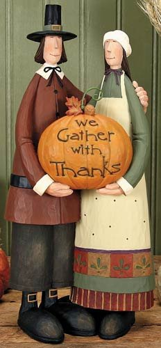Simply Grateful Pilgims with Pumpkin Figurine